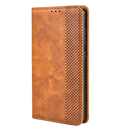 TANYO Leder Folio Hülle für LG Velvet 4G / 5G, Premium Flip Wallet Tasche mit Kartensteckplätzen, PU/TPU Lederhülle Handyhülle Schutzhülle - Braun