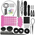 Global-store Hair Styling Set, 25 Pcs Hair Styling Accessories Kit DIY Hair Design Styling Tools, Fashion Topsy Tail Hair Styles Tool for Women Girls Magic Simple Fast Spiral Braid Modelling Kit