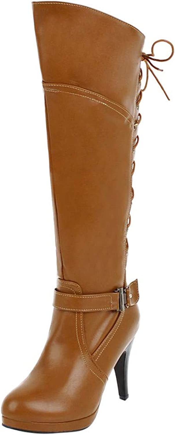 2018 Women Super Fine High Heel Faux Leather Buckle Drawstring Thigh Over The Knee Long BOOTS