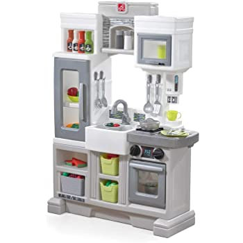 Step2 Downtown Delights Play Kitchen | Kids Kitchen Playset | Kitchen Toy with Realistic Lights & Sounds, Gray