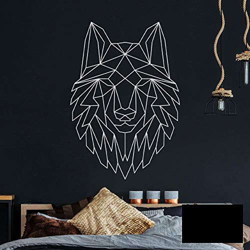 Wandtattoo geometrischer Wolf polygonaler Stil Wanddeko für Flur Schlafzimmer oder Wohnzimmer M2430 - ausgewählte Farbe: *schwarz* ausgewählte Größe: *L - 97cm hoch x 68cm breit*