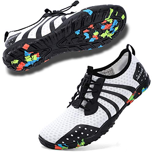 hiitave Water Shoes for Men/Women/Adults, Aqua Beach Pool Swim Shoes White Black W7.5/M6.5