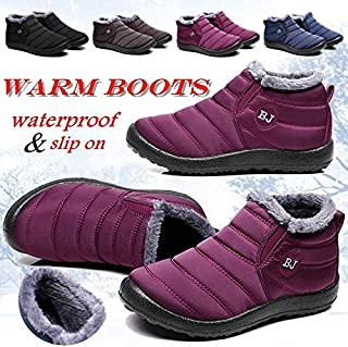 Fashion Women Winter Boots Casual Shoes Slip on Snow Boots Ladies Loafers Ankle Boots Kvinder St?vler Frauen - Stiefel женщины ботинки(Blue,5.5)