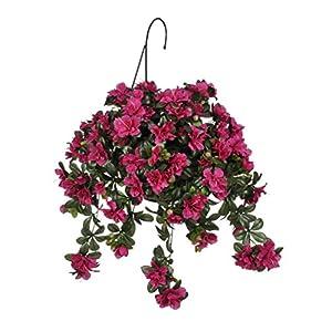 Silk Flower Arrangements House of Silk Flowers Artificial Azalea Hanging Basket, Fuchsia Violet