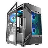 MUSETEX Mesh Micro-ATX Case 5 PCS ARGB Fans Pre-Installed 2× USB 3.0 Ports Opening Tempered Glass Panel & Mesh Front Panel Airflow Gaming PC Case Tower (MK7-GN5)