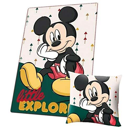 SRV Hub Disney Character Juego de manta y cojín para niños, 2 piezas, hecha de poliéster, multicolor y súper suave, idea de regalo para niñas (Mickey Mouse (Explorer) manta/cojín)