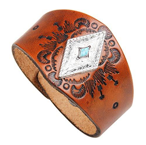 Bracelet Cuir Armband aus Leder – Armband aus Leder und Türkis, handgeschnitzt. - braun