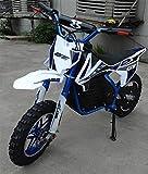 Mini moto para niños electrica - Mini pit bike con motor de 350w, baterias de 24V y 12ah. Niños/as de 5 a 12 años. PITBIKE (AZUL)