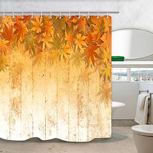 NYMB Fall Leaf Wooden Shower Curtain for Bathroom, Yellow Orange Colors Fall Autumn Maple Leaves at Rustic Farmhouse Wooden Plank Shower Curtain, Fabric Bathroom Curtain with Shower Curtain 12PCS Hook