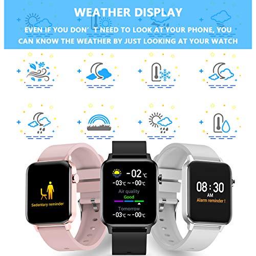 Smartwatch para Hombre y Mujer, Impermeable IP68 Reloj Inteligente con Pulsómetro Cronómetros Calorías Monitor de Sueño Podómetro Pulsera Actividad Inteligente Reloj deportivo para Android iOS(Negro) miniatura