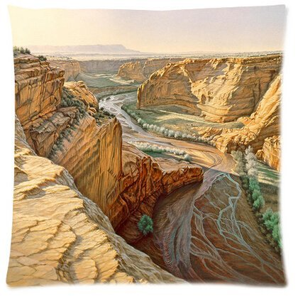 Unique Style Best Sale Customized Painting Style Mountain Valley Square Zippered Customized Throw Pillows Protector Pillowcase Twin Sides 18x18 Inch