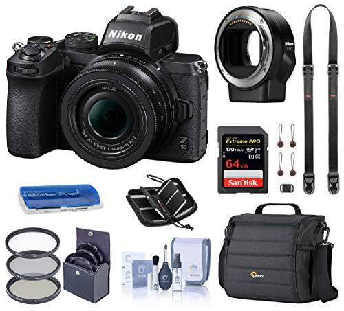 Nikon Z 50 DX-Format Mirrorless Camera with 16-50mm VR Lens, Essential Bundle with FTZ Mount Adapter, Case, Filter Kit, 64GB...