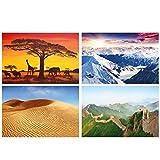 GREAT ART® juego de 4 motivos de carteles | Din A2 - 42 x 59,4 | Montañas arena y estepa | Alpes Panorama África Dunas Gran Muralla China | Cuadros para niños decoración póster