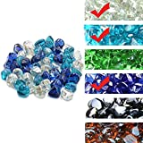 Skyflame 10-Pound Blended Fire Glass Diamonds for Fire Pit Fireplace Landscaping, 1 Inch Cobalt Blue, Crystal Ice, Caribbean Blue