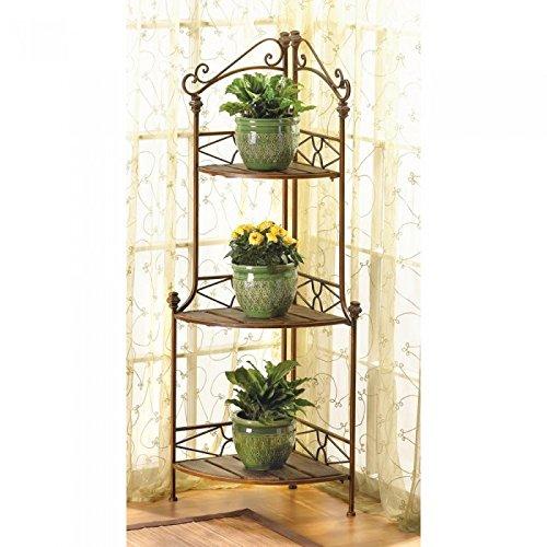 Racks Rustic Corner Baker'S Rack Metal Wood Plants Display Shelf Baker Shelves
