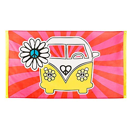 Boland 44502 - Fahne Hippie, Größe 90 x 150 cm, Polyester, Bulli, Flower Power, Peace, Banner, Wanddekoration, Hängedekoration, Kindergeburtstag, Beach Party, Mottoparty, Karneval