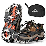 BANORES Traction Cleats Ice Snow Grips with 20 Stainless Steel Spikes for Walking, Jogging, Climbing, Fishing, and Hiking
