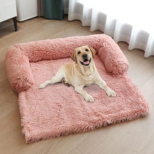 AINIM Soffice letto per cani, divano letto per cani per proteggere il divano e proteggere il tronco, letto per gatti lavabile, soffice cuscino per cani di medie dimensioni (taglia: L, colore: rosa)