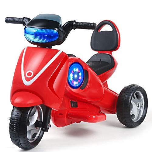 Moto Elétrico para Crianças, Carro Triciclo Criança Com Luzes E Música Recarregável 2 Anos Brinquedos Infantis Infantil Carros De Bateria,Rojo