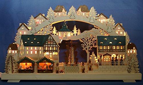 3D Schwibbogen Weihnachtsmarkt mit elektrischer Pyramide & Kirche im Erzgebirge 68x39cm