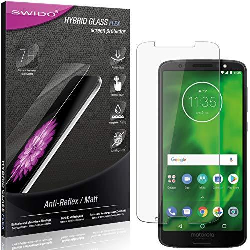 SWIDO Panzerglas Schutzfolie kompatibel mit Motorola Moto G6 Plus Bildschirmschutz Folie & Glas = biegsames HYBRIDGLAS, splitterfrei, MATT, Anti-Reflex - entspiegelnd