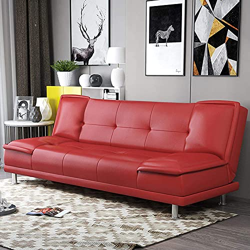 Sofa Bed Artificial Leather Convertible Sofa Couch with Folding Recliner, Adjustable Backrest and Side Pockets, Can Be Used In Living Room, Apartment, Dormitory, Red, 1.8M (Red,180cm)