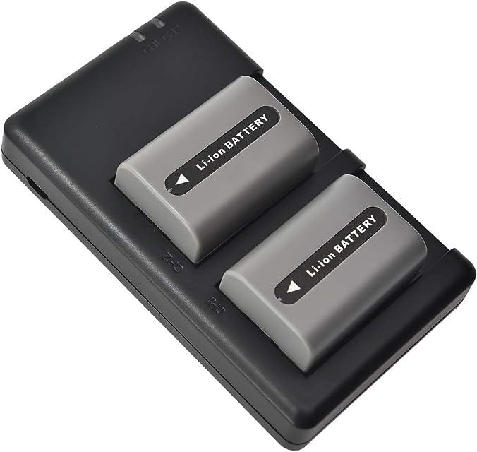 DSTE 2 Piezas de Recambio de bateria NP-FP50 Batterie + USB Cargador Dual Compatible con Sony DCR-SR50 DCR-SR60 DCR-SR70 DCR-SR80 DCR-SR90 DCR-SR100 HDR-HC3