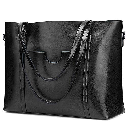s zone shoulder bags S-ZONE Women Genuine Leather Top Handle Satchel Daily Work Tote Shoulder Bag Large Capacity