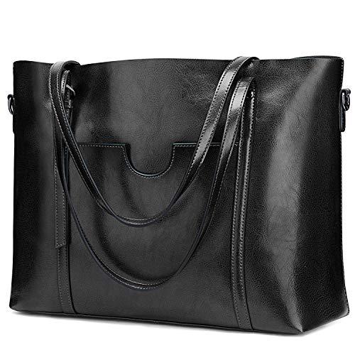 S-ZONE Damen 3-Way Schultertasche Vintage Echtleder Shopper Große Mode Laptop Arbeitstasche Umhängetasche Handtasche Messenger Bag, Schwarz, L