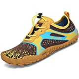 SAGUARO Boys Girls Water Shoes Quick Drying Closed-Toe Slip On Aquatic Sport Sandals Sneakers Barefoot Shoes for Hiking Camping Trekking Brown/Yellow Toddler 8.5