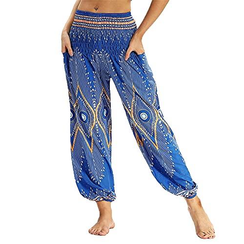 Leggins Mujer Fitness Mallas Gimnasio Pilates, Hippie Hipie Pantalones de Harem para Mujeres Viajes de verano Pantalones sueltos Boho Boho Casual Alto Cintura Alta Cintura Yoga Pantalones Pantalones P
