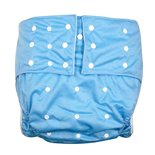 LukLoy Men's Adults Cloth Diapers for Incontinence Care Protective Underwear -Dual Opening Pocket Washable Adjustable Reusable Leakfree for Waist Large Size 65~135cm (Light Blue)