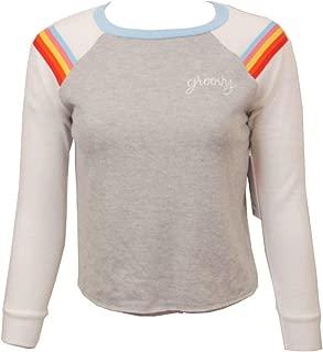 Junior Girls Groovy Long Sleeve Fleece Baseball T-Shirt Top, Crewneck Style VHZ4035
