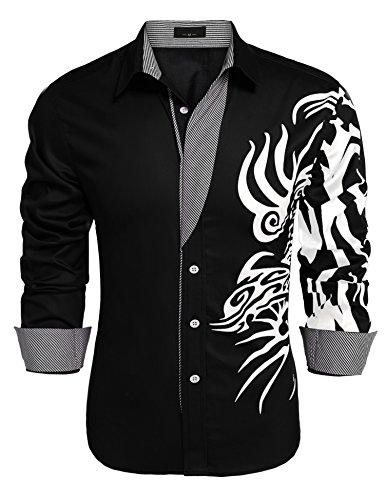 JINIDU Men's Solid Point Collar Print Button Down Shirt Black