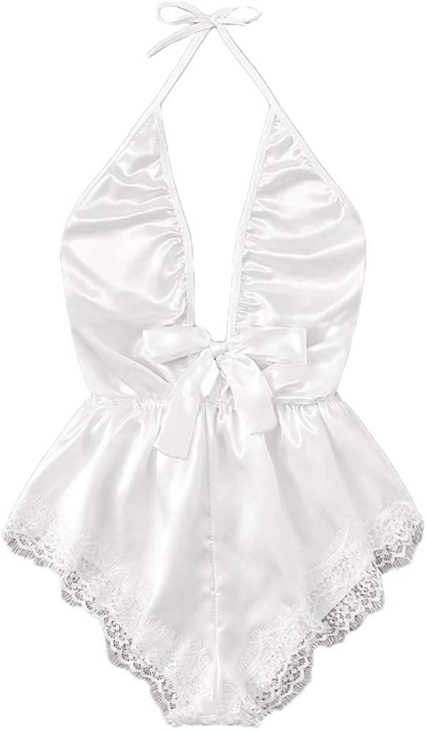 VonVonCo Sexy Lingerie for Women Plus Size V-Neck Lace Stain Lingerie Bodysuit Sleepwear Pajamas Silk Jumpsuit