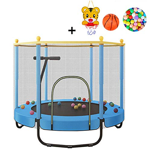 QXTT 4.6ft Trampoline With Enclosure For Kids Trampoline Outdoor With Safety Net Enclosure Adults Spring Cover Foam Padding Rust-resistant Hot Dip Galvanised Frame,Blue