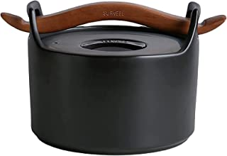 ZRSLGS 2. 6qt. مقاومة للحرارة السيراميك Stockpot خزفي، المنزلية المفتوحة اللهب الطين وعاء وعاء الساخنة وعاء الحساء وعاء مع...