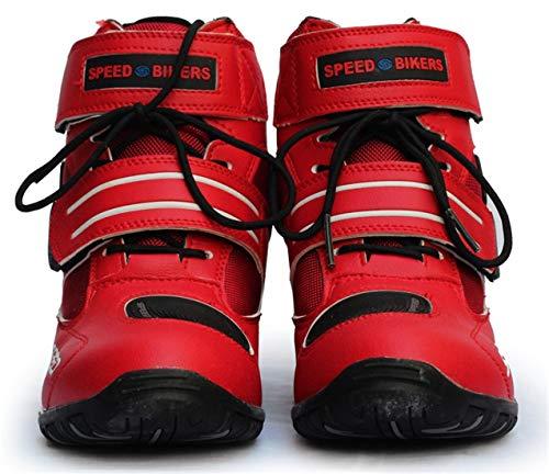 AKAUFENG Motorradstiefel Motorrad Schuhe Herren Kurzstiefel Sneaker Wasserabweisend mit Hartschalenprotektoren Schwarz Rot 39-45