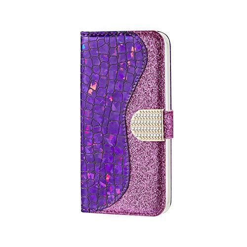 CaseFun Cover Samsung S7 Edge Flip Pelle Libro Brillantini Glitter Portafoglio Custodia con Funzione di appoggio e Porta Carte per Samsung Galaxy S7 Edge, Viola