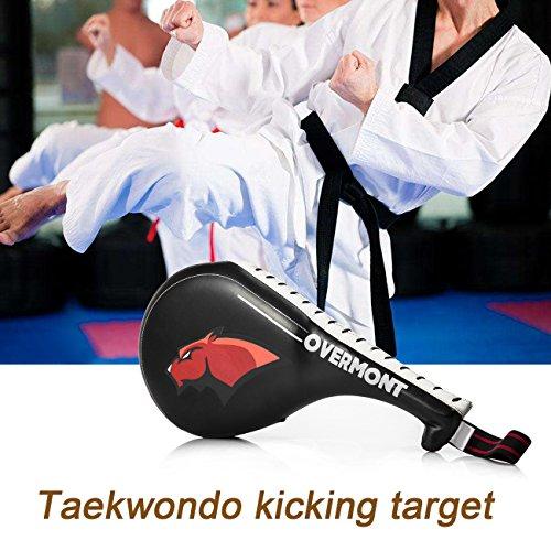 Overmont Double Kicking Target Taekwondo Kick Pads TKD Training Karate Kickboxing Judo Practice MMA Muay Thai Martial Arts Black/red