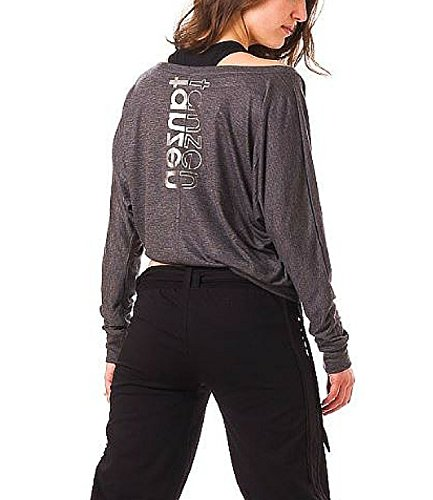 CLOSH Damen Tanzshirt Loose Fit Longsleeve Langarm, anthrazit, S, W09-04-TT-01