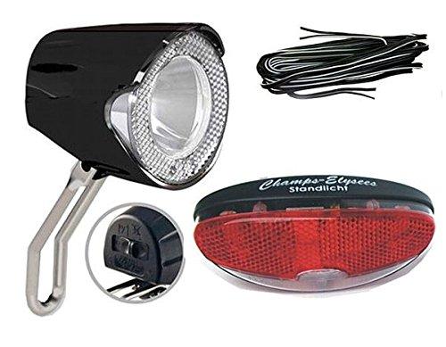 BDCP Fahrrad Nabendynamo Beleuchtungsset 5,UN-4255 LED-Scheinwerfer 20 Lux, Rücklicht und Kabel