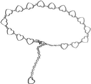 LLLucky Retro Cerchio a Forma di Cuore in Metallo Cintura in Metallo Gioielli Regolabile Catena Pancia Corpo Argento + Cuore