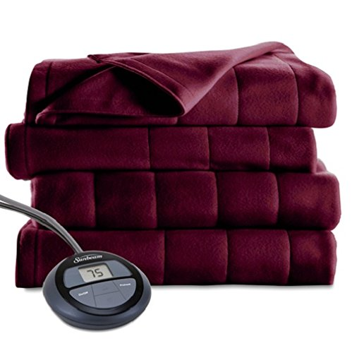 Sunbeam Heated Blanket | Microplush, 10 Heat Settings, Garnet, Twin - BSM9KTS-R310-16A00