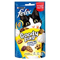 Felix Goody Bag Cheezy Mix cat treats flavoured with cheddar, gouda & edam cheese Packed with three delicious flavours meaning triple the treats for your kitty to enjoy! Nutritious treats that we're sure your cat will love With omega 6 fatty acids to...