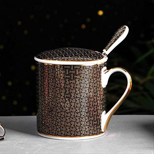 KYSM Creative Taza de cerámica Pareja Taza de Gran Capacidad Taza de té de la Tarde 350 ml Años Brillantes Negro