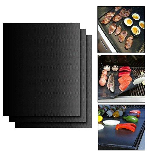 JTDEAL langlebig Grillmatte/Backmatte, Antihaftbeschichtung für bis 400°C , ideal für Grill und Backofen, LFGB und FDA Zulassung, 3 Stück, 33x 40cm