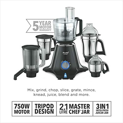 Preethi Zodiac MG 218 750-Watt Mixer Grinder with 5 Jars (Black/Light Grey)