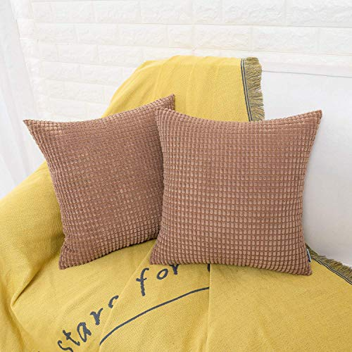 HWY 50 Decorative Throw Pillows Covers, Corduroy Soft Comfy Solid Brown Pillow Covers Cushion Cases Set for Couch Sofa Bedroom Bed 18 x 18 inch Pack of 2, Accent Corn Striped Decoration