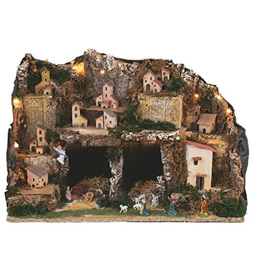 Aurora Store.it Presepe Completo 3 Livelli in Sughero con Grotta Incluse LUCI e NATIVITA' e RE Magi Ambientazione Villaggio Paesaggio con Casette e casolari 60 x 36 x h. 40 cm Artigianale Verticale